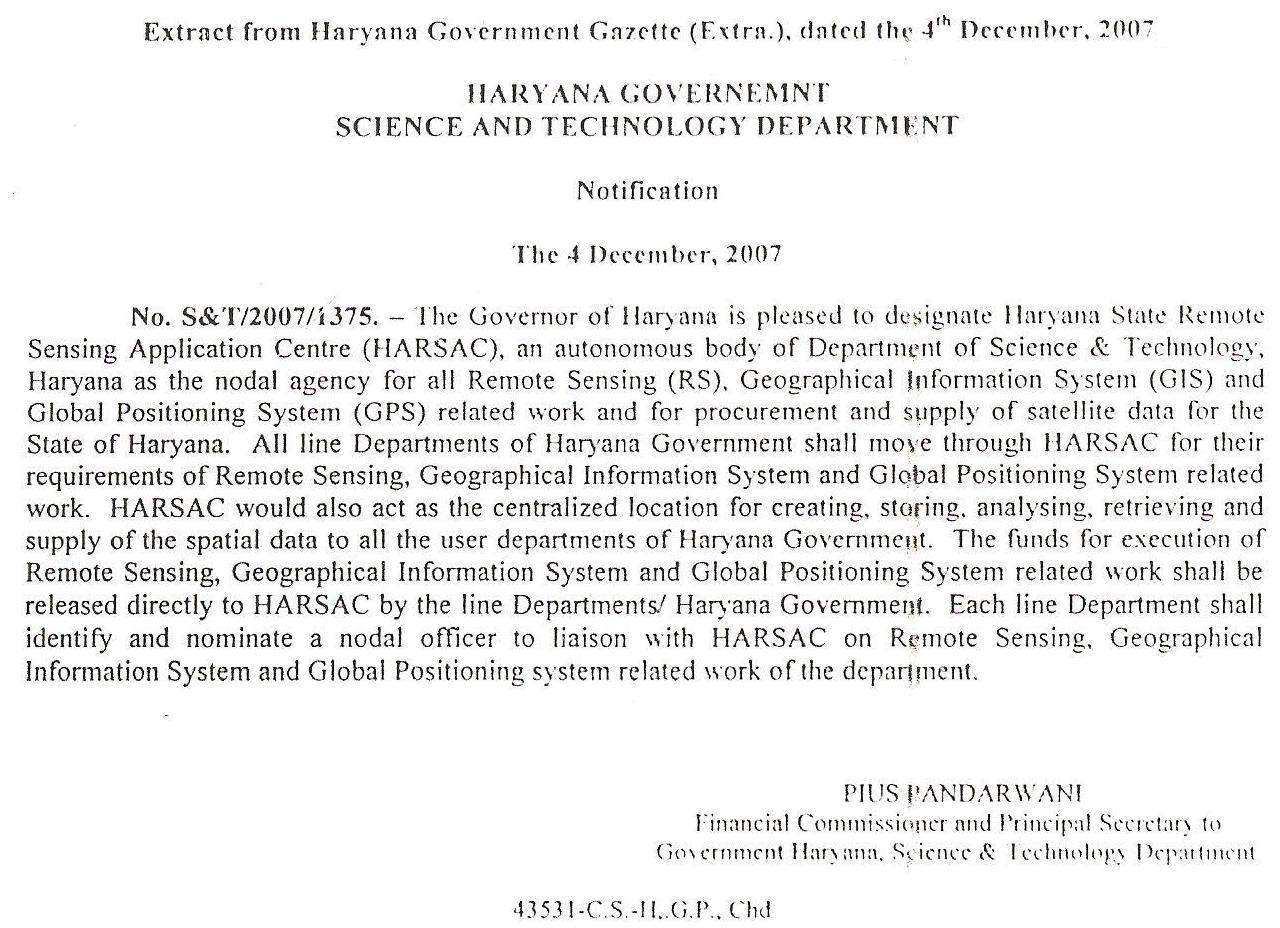 Harsac  Haryana Space Applications Centre  Notification  Office Order